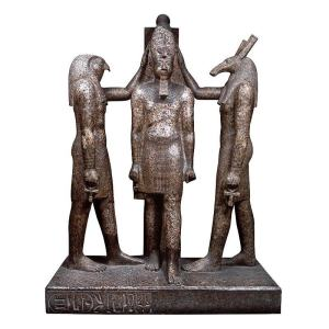 The Global Egyptian Museum, Group Statue of Ramesses The Third with Horus and Seth