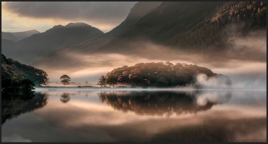 Mist and Reflections, Crummock Water, Cumbria, England, by Tony Bennett