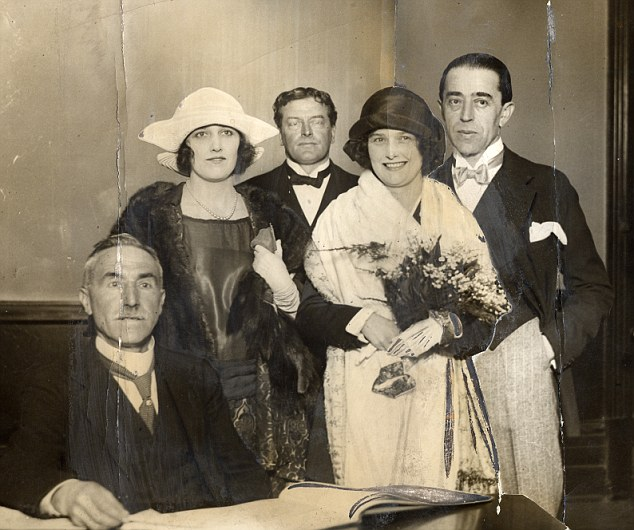reilly, pictured far right on his wedding day to actress pepita bobadilla in 1923,