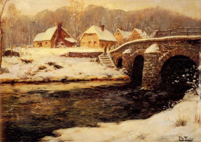 Frits Thaulow - A Stone Bridge Over A Stream In Winter.jpg