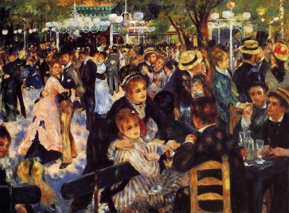 Bal au moulin de la Galette, Montmartre by Pierre-Auguste Renoir