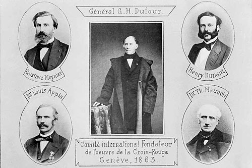 Louis Appia, Guillaume-Henri Dufour, Henry Dunant, Théodore Maunoir, Gustave Moynier. Members of the Committee of Five, which later became the ICRC.