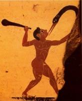 πυγμαίος και γέρανος από πήλινο βρωμίσκο.6ος π.Χ, Αρχαιολογικό Μουσείο Κορίνθου