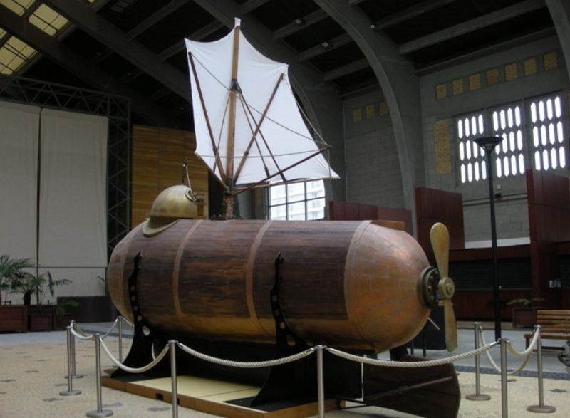 A replica of Fulton's Nautilus at Cite de la Mer in France. It was the first practical submarine he designed for Napoleon