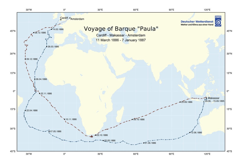 The route of the Paula with dates showing when bottles were tossed. Source, Deutscher Wetterdienst- German Weather Service
