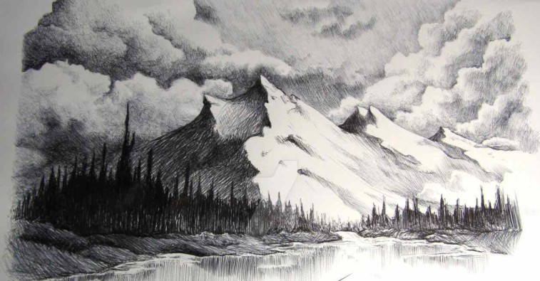 Pencil Sketches Of Mountains Gallery Mountain Landscape Drawing, - Drawings Art Gallery